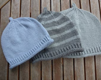Knitted hat for little boys from Merino/cotton size and colour selectable