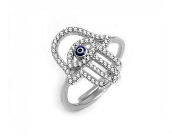 Evil Eye Hamsa Hand Ring Sterling Silver