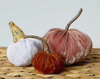 Set of 3 Plush Velvet Pumpkins - Rose, White, and Coppery Orange
