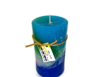 Ocean Inspired Layered Pillar, Hand Poured, Artisan Candle, Scented in Ocean Mist Fragrance