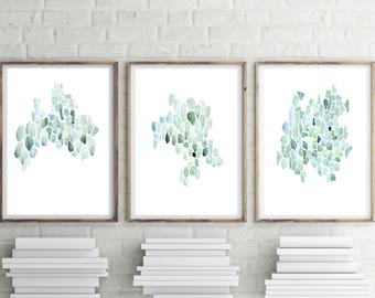 Set of 3 Prints, Coastal Wall Art, Abstract Watercolor Print Set, Set of 3 Coastal Prints, Set of 3 Watercolor Prints, Minimalist Print Set
