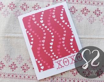 Handmade Red XOXO Valentine Card