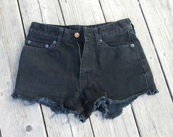 1980s Levis 567 / 26 / 0-2 High Waist / Black Shorts