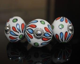 Rangoli design ceramic knob Handpainted poignées de meubles Cabinet Möbelknopf Dresser pomelli drawers Boutons -Price is of 1 knob (OHK0123)