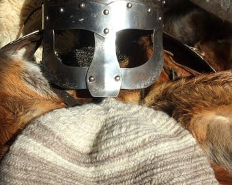 Nalbinded 100 % wool hats made to size in ancient breed wool.Viking Anglo-Saxon Medieval , living history, sca, larp, reenactment