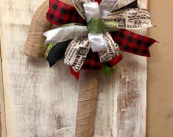 Burlap Cany Cane Door Hanger, Christmas