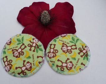 Reusable Beautiful Cheeky Monkeys Print Breast Pads. Breathable, Light, Non-slip, Heavy Absorbency Nursing Pads. *Ship Worldwide*.