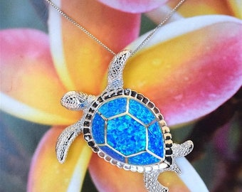"""Summer Sale Sterling Silver Blue Opal Inlay Turtle Pendant Necklace With 20"""" Box Chain Hawaiian Jewelry, US Free Shipping!"""