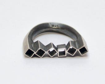 Silver ring, angular ring with blackened surface, silver jewelry, matte finish