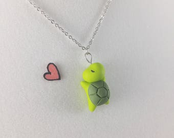 Kawaii Sea Turtle Necklace // Polymer Clay Jewelry