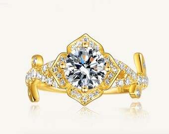 Rose design Moissanite Engagement ring with natural diamonds in 14k white gold, Bridal Ring,Diamond Alternative engagement ring