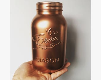 Copper painted mason jars.