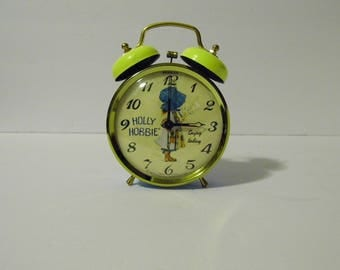 Holly Hobbie 1970s Alarm Clock - Ships Priority so you'll get it Fast! - See shoppe for more Awesome Vintage!