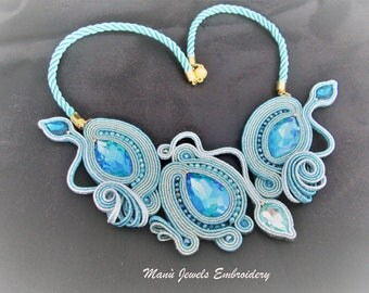 soutache necklace aqua