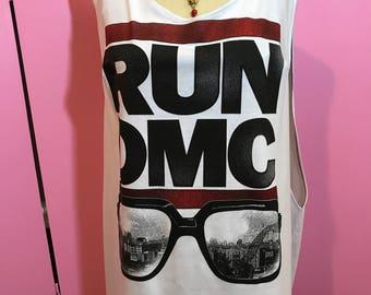 RUN DMC tee/classic hip hop tee/old school hip hop/low side tee/run dmc tee