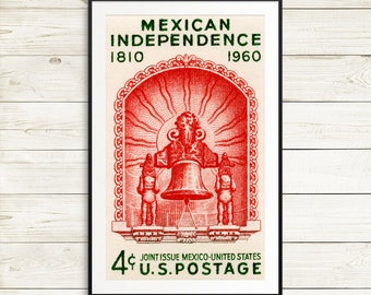Wall art: Mexican Independence, Mexico, Mexico poster, USA postage stamp, postage stamp art, 1960s era, 1960s poster, USA stamp art, posters