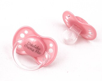Daddy owns me adult baby pacifier ABDL dummy for littles. Customised DDLG pacifier nuk 3