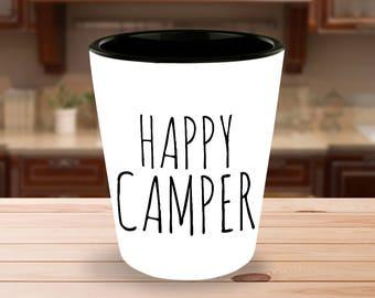 Camping Shot Glass - Happy Camper Shot Glasses - Glamping Party - Glamping Supplies - Funny Shot Glasses - Cute Shot Glass