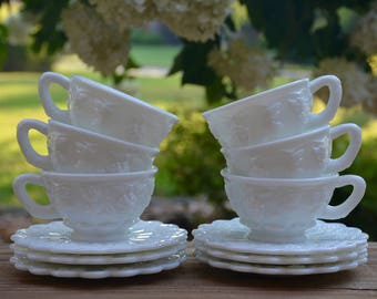 Westmoreland Milk Glass Tea Cups, Coffee Cups, Saucers, Paneled Grape Pattern, White Tea Cups, White Milk Glass, Bridal Tea, Milk Glass Cups