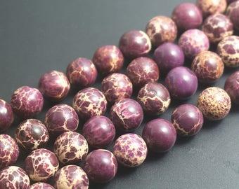 Sea Sediment Jasper Natural Purple Emperor Stone Round Beads 6mm 8mm 10mm 12mm,1 Strand 15 inch