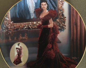 """1993 Gone With The Wind """"The Red Dress"""" Bradford Exchange Collector plate"""