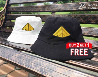 Pyramid Embroidered Bucket Hat by 24PlanetsStudio