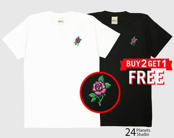 Pink Rose Embroidered T-Shirt by 24PlanetsStudio