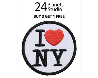 I Love NY New York Iron on Patch by 24PlanetsStudio