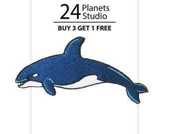 Killer Whale Orca Fish Iron on Patch by 24PlanetsStudio
