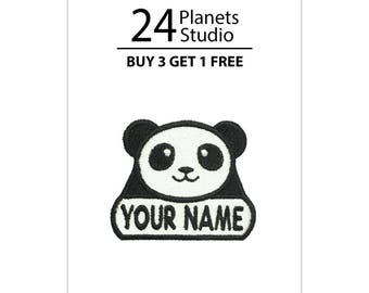 "Mini Panda ""Your Name"" Iron on Patch by 24PlanetsStudio"