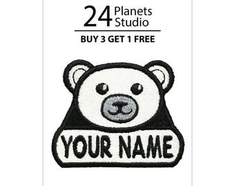 """Polar Bear """"Your Name"""" Iron on Patch by 24PlanetsStudio Your Text Custom Made DIY"""