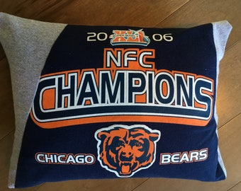 Chicago Bears NFC Champions Upcycled T-Shirt Pillow (12x16)