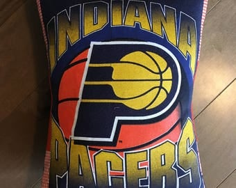 Indiana Pacers Basketball Upcycled T-Shirt Pillow (12x16)