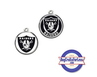 RAIDERS Football CABOCHON, 18mm, CHooSE Logo, Glass or Epoxy Cover  - Super CUTE!  +FReE SHiPPiNG & Discounts*