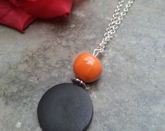 bohemian necklace - pendant necklace - ceramic pendant - wood necklace pendant silver chain - chain pendant - wood