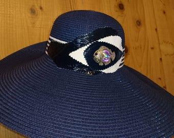 Navy blue floppy hat