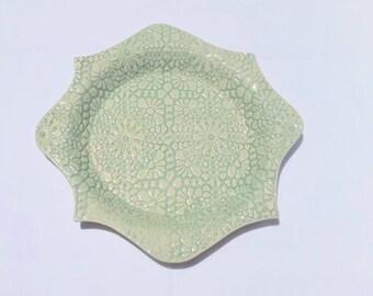 handmade pottery pie plate - celadon green