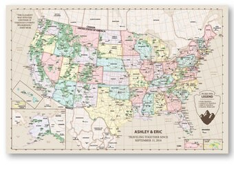 National Park Map Rustic Push Pin X Inches USA Parks - Man in the us map