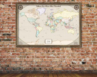Travel Map Personalized Framed World Map for Pinning Cotton Anniversary Gift for Wife Unique Push Pin Map with Frame Travel Gifts for Dad