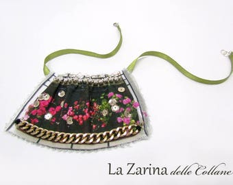 """Modern country fabric Necklace-""""flower sill"""""""