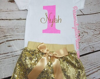 First Birthday Outfit, Girl First Birthday Outfit, 1st Birthday Outfit,  Gold and Pink Birthday, Gold Birthday Outfit