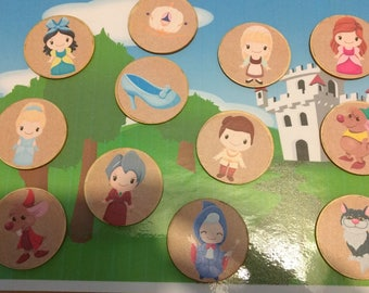 Cinderella inspired, prince and princess, story stones, story discs, storytelling kit
