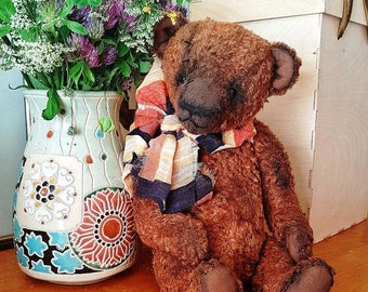 Artist Teddy bear Michael, OOAK teddy, Collectible toy, Antique looking bear, Fully Jointed bear, Interior toy, Old bear, Exclusive present