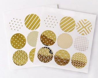 36 PCS Gold Foil Seal Stickers, Seals, Scrapbooking, Scrapbook Supplies, Stationary, Paper, Paper Stickers, Stickers, Paper Supplies