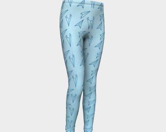 Girls Leggings, Blue Paper Airplane Leggings, Girls Yoga Leggings, Leggings, Girls Clothes, Back to School Leggings, Girls Yoga Pants