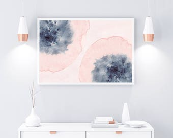 Horizontal Wall Art, Printable Art, Pink Blue Wall Art, Blush Pink Art, Watercolor Print, Watercolor Horizontal Art, Large Print, 24x36 Art