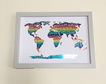World map with various travel quotes | Hand lettered foiled print|frameable print