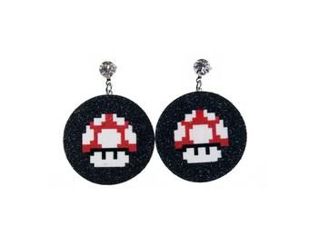 Super Mario Mushroom earrings