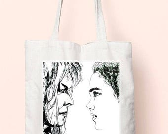 Hand illustrated Labyrinth cotton tote bag.