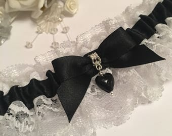 Black and White Wedding Garter with black heart charm